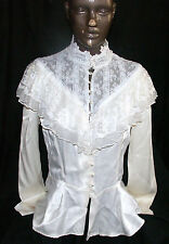 Ivory Lacey High Collar Blouse Top Pearl Like Buttons Steampunk Victorian