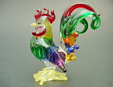Glass COCKEREL CHICKEN HEN ROOSTER Painted Glass Figure Ornament Glass Animal