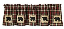 New Rustic Lodge Cabin Country Red Tan BLACK BEAR VALANCE Window Curtain