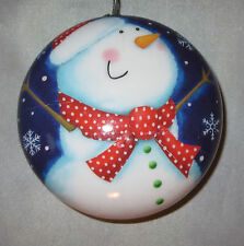 Snowman Ornament Red Hat Scarf Christmas Blue Sky Snowflakes Round New