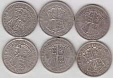 1928/1929/1932/1933/1935 & 1936 GEORGE V 50% SILVER HALF CROWNS IN GOOD FINE