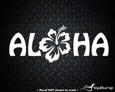 Aloha Hibiscus Hawaiian Surfing Flower Car Decal / Laptop Sticker - WHITE 8""