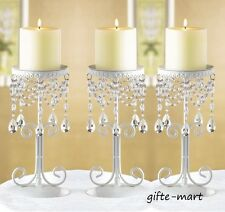 3 white Crystal beaded chandelier candelabra shabby pillar Candle Holder stand