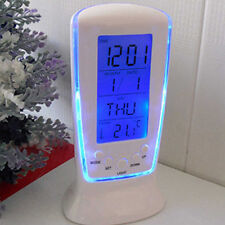LED Digital Alarm Clock with Blue Backlight Electronic Calendar Thermometer New