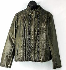 Womens Big Chill Vintage Vegan Faux Leather Jacket Boho Brown Fitted Size XL