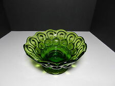 """LE Smith Moon & Stars Candle Bowl Green 6"""" D 7 1/2"""" top D"""