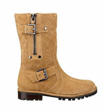 NWT Guess $148 Ordan Quilted Flat Faux Shearling Suede Boots Brown US 6.5 EU 37