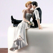Figurine Romantic Resin Wedding Cake Topper Bride Groom Couple Hug Kiss Bridal