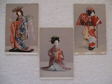 3 Vintage Postcards Japan Travel Bureau Wistaria Maiden, Cha-no-yu & Kamuro