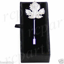 New in box Men's Suit brooch chest metal leaf shape silver lapel pin formal