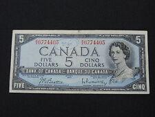 1954 $5 DOLLAR BANK NOTE CANADA R/X6774405 BEATTIE - RASMINSKY MODIFIED VF