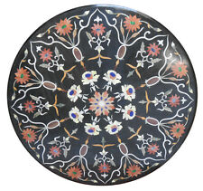 """36"""" Black Marble Italian Dining Room Table Top Marquetry Mosaic Inlay Gift H2384"""