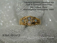 Edwardian 18ct Gold Opal & Diamond Ladies Dress Ring Hallmarked 1905 UK K