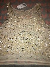 Womans Forever 21 Sheer Sequenced Tank Top Crop Top-size Medium- New With Tag