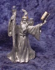 Pewter WIZARD with Staff, Owl & Book - Satin Finish