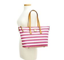 Dooney & Bourke Stonington Zip Top Shopper MAGENTA ORCHID WHITE pINK stripes NWT