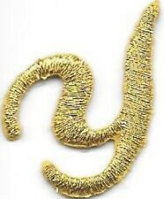 "1 1/8"" Fancy Metallic Gold Script Cursive Alphabet Letter Y Embroidered Patch"