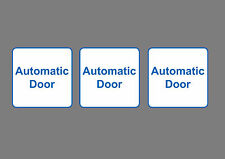 3x AUTOMATIC DOOR sticker sign, White, Self Adhesive, small Square 8x8cm