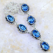 "Handmade Blue Topaz Gemstone 925 Sterling Silver Necklace 18"" #G3125"