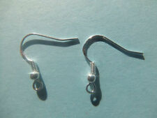 10 PAIRS STERLING SILVER 925 STAMPED EARRING FISH HOOK EARWIRES WITH BALLS CRAFT