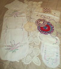 LOT of ESTATE SALE LINENS 12 PC Embroidered Crocheted Lace Doilies Runner Etc