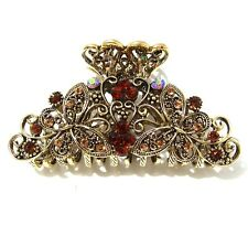 Brown Color Rhinestones Crystal Metal flower/butterfly hair claws clips