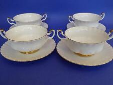 SET OF FOUR ROYAL ALBERT VAL D'OR CREAM SOUP BOWLS WITH SAUCERS