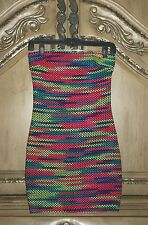 NWT 2b bebe M Strapless Rave Night Bright Hot Multi Neon Mini Tube Sweater Dress