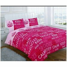 SUPER KING SIZE DUVET COVER SET PINK KEEP CALM SNOOZE DREAM NOVELTY FUN BEDDING