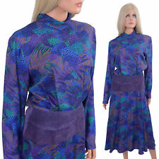 Vtg 80s Avant Garde Dress Et Al Ronnie Rosado ILGWU Blue Purple Fluid Rayon Midi
