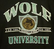 WOLF UNIVERSITY tee Youngstown CD 106 T shirt XL University Rock WNCD Ohio 1980s