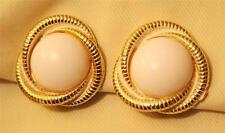 Handsome Vintage Rope Rim White Finish Goldtn Trefoil White Center CLIP Earrings