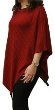 100% Pure Cashmere Cable Knit Poncho, Deep Cherry Red, Handcrafted In Nepal