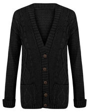 LADIES ARAN BUTTON WOMENS CHUNKY GRANDAD CABLE KNITTED CARDIGAN ARDIGAN JUMPER