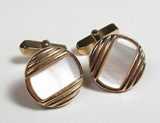 Vintage Men's Cufflinks Retro SWANK Mother of Pearl Gold Tone Round Cuff Links