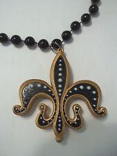 Black Gold Fleur De Lis Bead Mardi Gras Necklace Saints