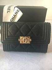 Auth BNIB Chanel Classic Timeless Boy O-Card Holder Coin Purse Snap Pouch Wallet