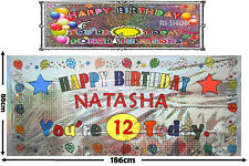 Large Personalisable Happy Birthday Foil Banner for Any Name & Age 186 x 88cm