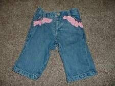 Ruffle Butts Baby Girls Jeans Denim Pants Size 3-6 months mos Pink Infant Cute