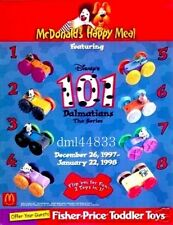 1998 McDonalds 101 Dalmatians Flip Cars MIP Complete Set of 8, Boys & Girls, 3+