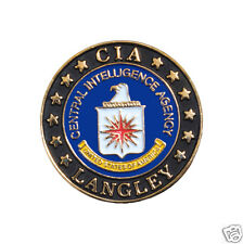 CIA MINI-BADGE SEAL & EAGLE STAFF LAPEL PIN, CENTRAL INTELLIGENCE AGENCY