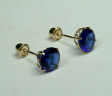 14 solid yellow gold 6mm faceted Sapphire stud earrings