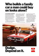 """1972 Dodge Charger Coupe photo """"Family-Sized Room"""" vintage promo print ad"""