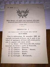 REGIO DECRETO AGG 7 STRADE LECCE LIZZANELLO MARTANO OTRANTO RUSSANO MONTEMESOLA