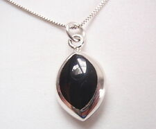 Reversible Black Onyx and Mother of Pearl 925 Sterling Silver Marquise Pendant
