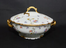 A. Lanternier Limoges Violets Pompadour Covered Round Vegetable Bowl