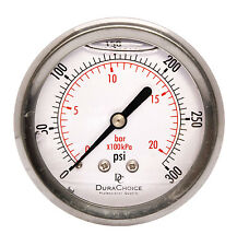 "2-1/2"" Liquid Filled Pressure Gauges - 1/4"" NPT Center Back Mount 300PSI"