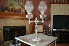 Antique  Silver English Parlor Oil Lamp, Silver Plated Bronze/Brass, #898
