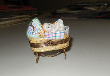 AUTHENTIC LIMOGES baby in bassinet carrier bottle no.12 of 50 france TRINKET BOX