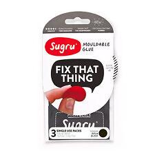 Sugru 3 x 5g Pack NEGRO Impermeable Resistente al calor Goma Reparación Mend